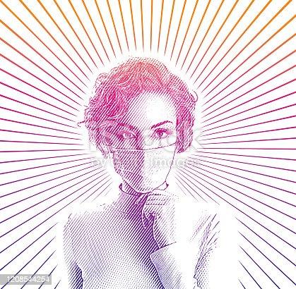 istock Woman wearing protective face mask to avoid virus 1208544254