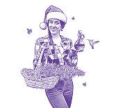 Woman wearing Santa hat holding gifts of hemp and CBD Oil