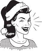 Woman Wearing Santa Hat Retro Line Art Illustration