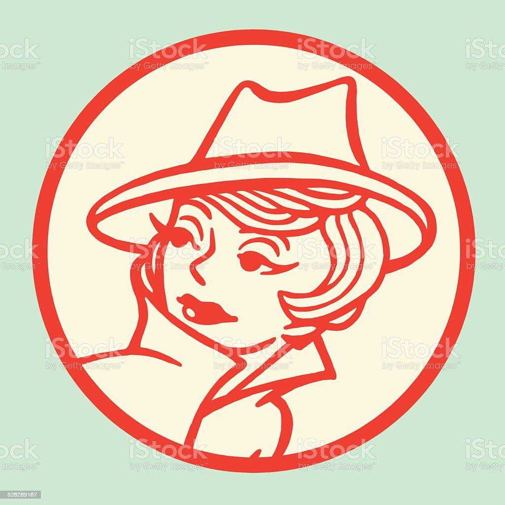 Woman Wearing Stylish Hat vector art illustration