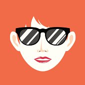 Vector illustration of woman and sunglasses. EPS10, AI CS, high res jpeg included.