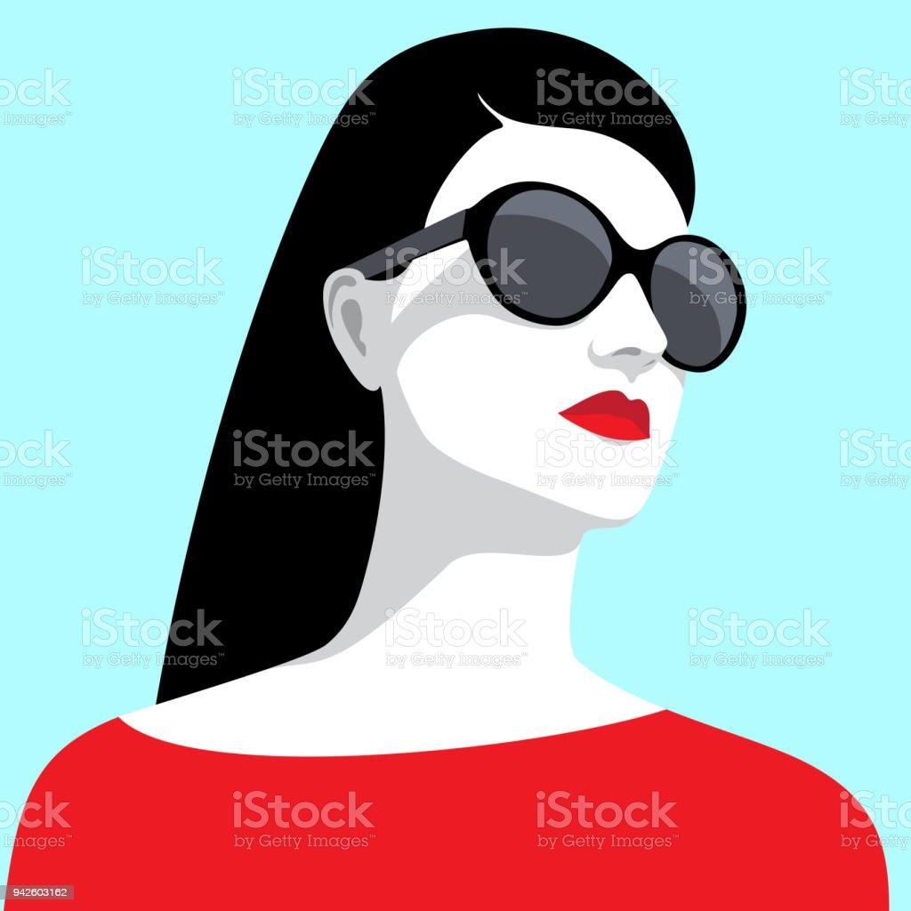 Woman wearing sunglasses vector art illustration