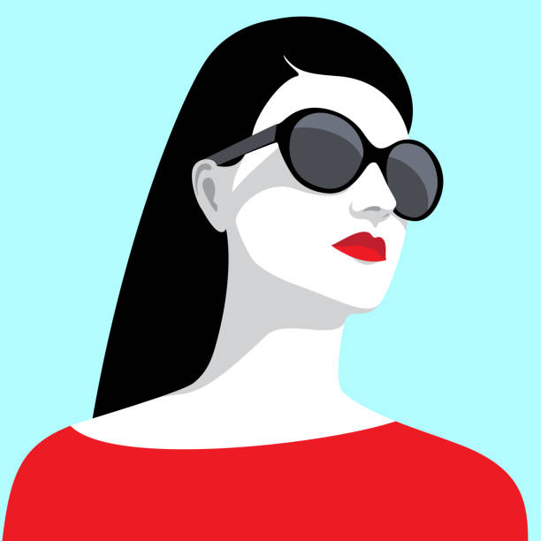 woman wearing sunglasses - female faces stock illustrations, clip art, cartoons, & icons
