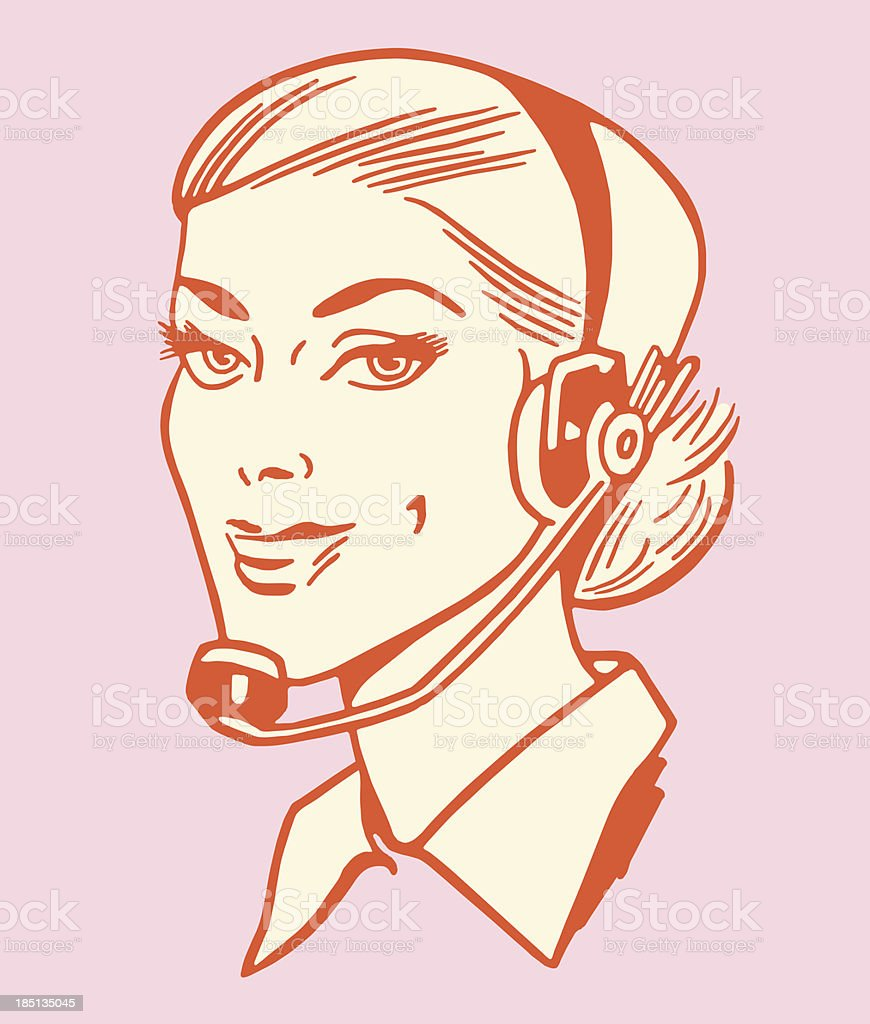 Woman Wearing Telephone Headset royalty-free stock vector art