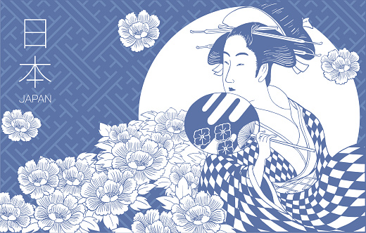 Woman wearing traditional Japanese clothes. Geisha costume. Flower pattern background. Hand drawn vector illustration.