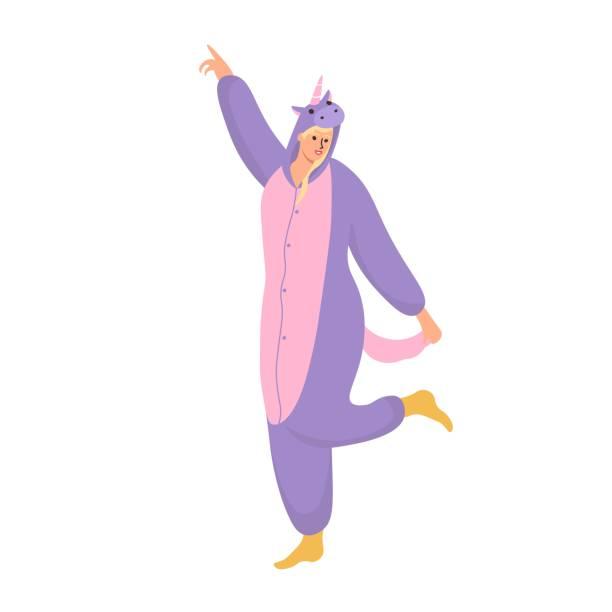 ilustrações de stock, clip art, desenhos animados e ícones de a woman wearing unicorn pajamas . flat vector illustration. - unicorn bed