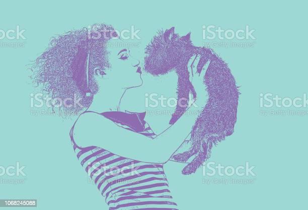 Woman wearing vintage 1950s fashion kissing dog vector id1068245088?b=1&k=6&m=1068245088&s=612x612&h=hhjkih9izsof2irn6 8j6n2psrpqwi6q1d qwwzvsh4=