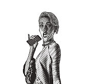 Engraving illustration of a Glamorous young woman wearing vintage fashion with a shocked facial expression
