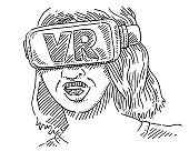Woman Wearing VR Glasses Drawing
