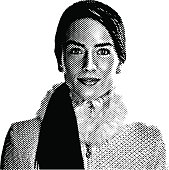 Engraving illustration of a fashion model wearing a winter coat with faux fur collar.