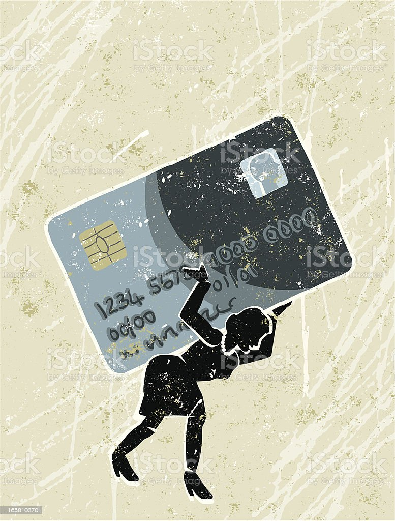 Woman Weighed Down by Credit Card Debt vector art illustration