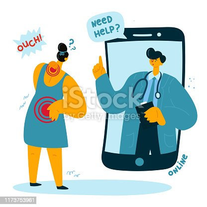 The woman asks the online doctor for help because she has a back and neck pain. Online doctor consults the patient. Smartphone-related neck pain. Vector illustration
