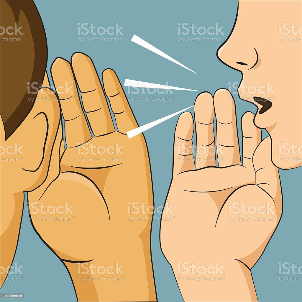 Woman whispering into someone ear telling her something secret, vector art illustration