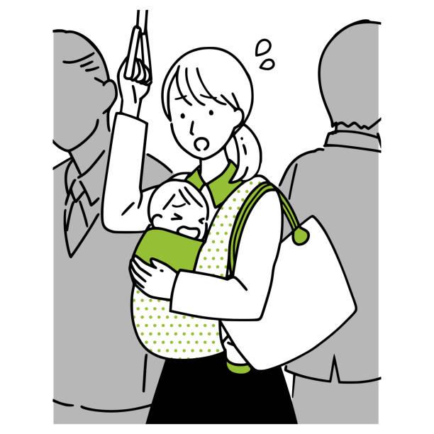 出席と子供に通う女性。 - 通勤点のイラスト素材/クリップアート素材/マンガ素材/アイコン素材