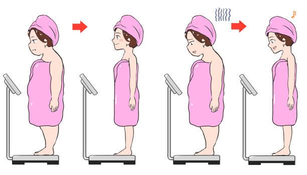 お風呂に入った後、体重計(大)になる女性 ベクターアートイラスト
