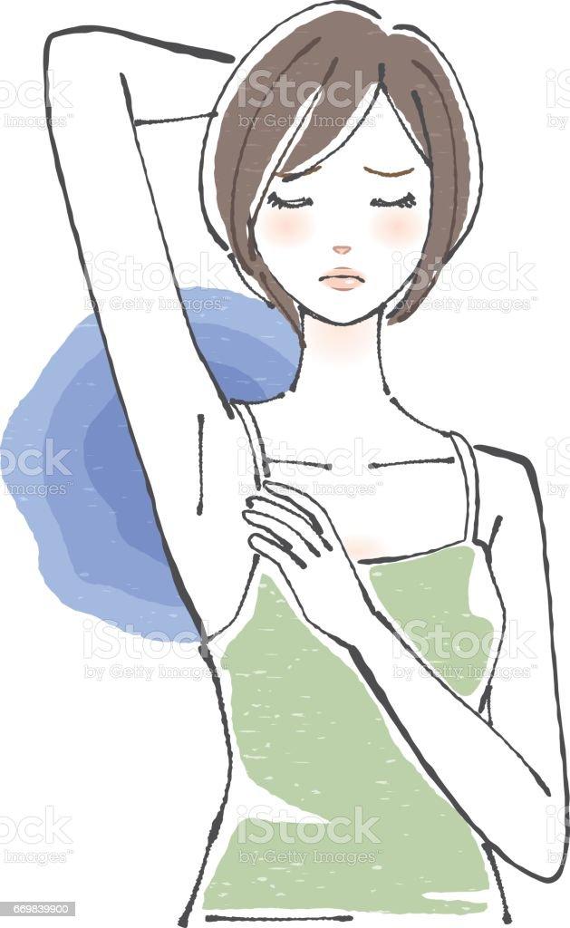 一個出汗肩並肩 / 短頭髮的女人向量藝術插圖
