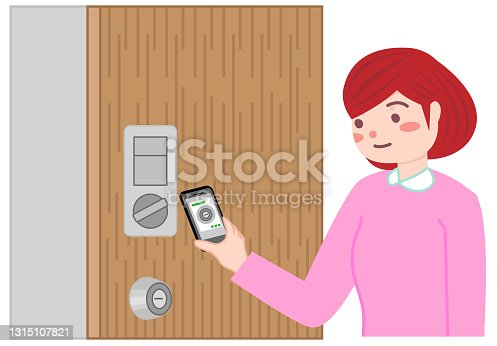 istock A woman who locks the door with a smartphone. 1315107821