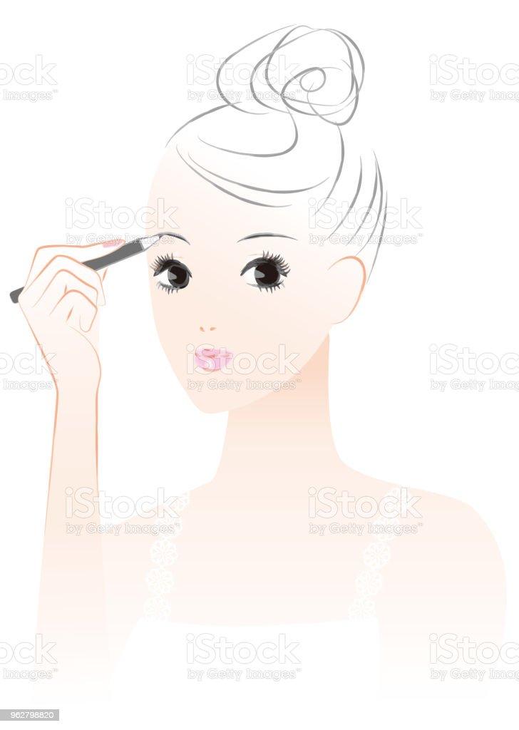 woman who makes a makeup. Eyebrow. vector art illustration