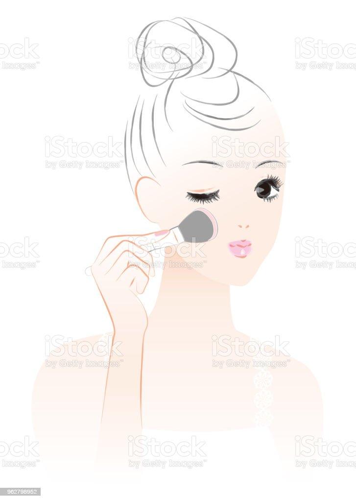 A woman who paints teak. Makeup. vector art illustration