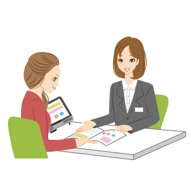 illustrazioni stock, clip art, cartoni animati e icone di tendenza di a woman who receives an explanation. - solo giapponesi