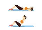 Woman who was fat doing sit up on mat.