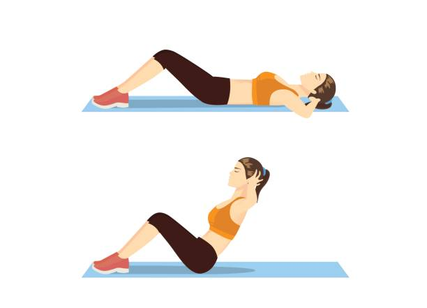 Woman who was fat doing sit up on mat. vector art illustration