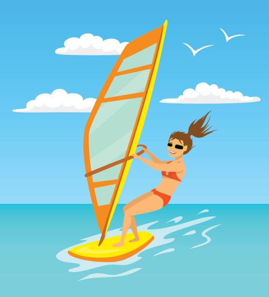 Woman Windsurfing Cartoon Vector Illustration Art