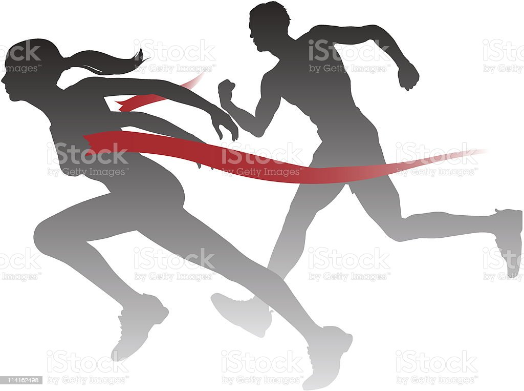 Woman winning the race vector art illustration