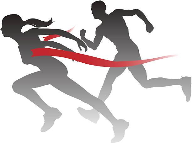 woman winning the race - finish line stock illustrations, clip art, cartoons, & icons