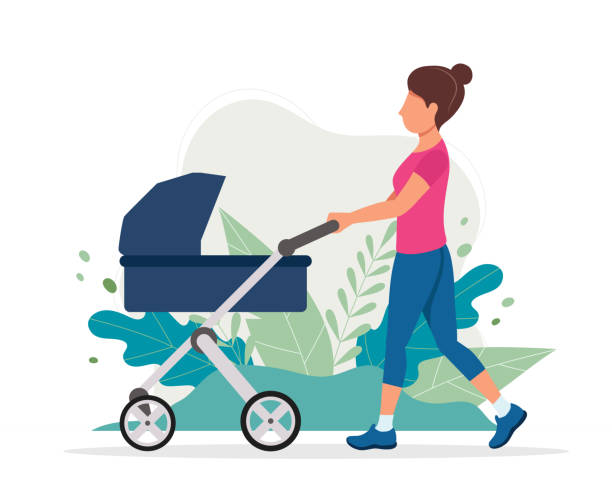 Woman with a baby carriage in the park. Vector illustration in flat style, concept illustration for healthy lifestyle, motherhood. vector illustration in flat style baby carriage stock illustrations