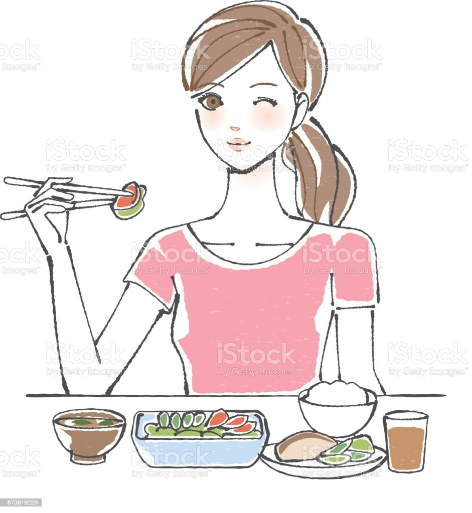 A woman with a balanced diet vector art illustration