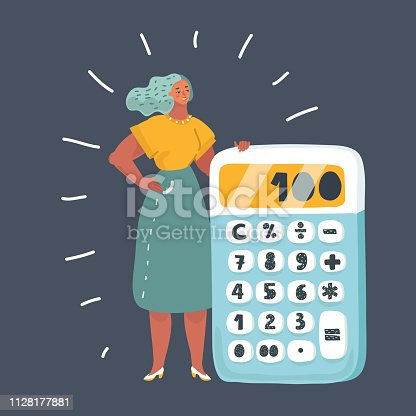 Vector cartoon illustration of tiny woman with a big calculator. Female character on dark background.