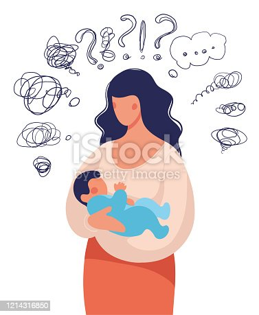 istock A woman with a child in her arms asks herself many questions. Conceptual illustration about postpartum depression, help for a young mother, family support. Flat cartoon illustration isolated on white background. 1214316850
