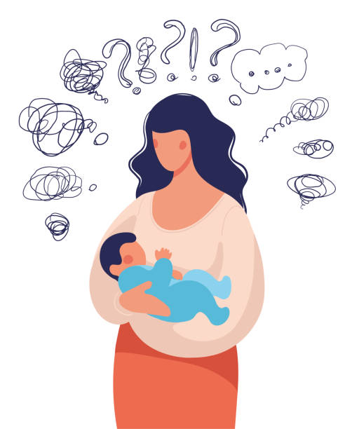 ilustrações de stock, clip art, desenhos animados e ícones de a woman with a child in her arms asks herself many questions. conceptual illustration about postpartum depression, help for a young mother, family support. flat cartoon illustration isolated on white background. - deceção