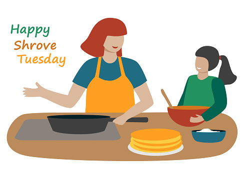 A woman with a child makes pancakes for Shrovetide. Mom and daughter cook together in the kitchen. Hand drawn people and text: happy shrove tuesday. Flat style.  Isolated on a white background. Vector colored trendy illustration.