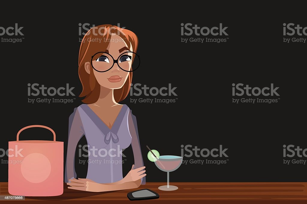 Woman with a cocktail vector art illustration