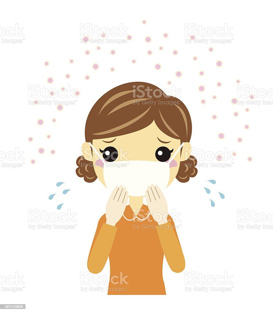 Woman with a cotton gauze mask - hay fever vector art illustration