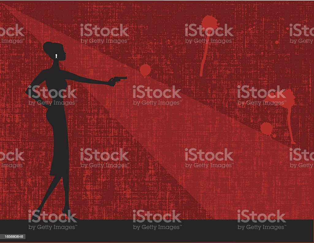 Woman with a gun in red background illustration vector art illustration