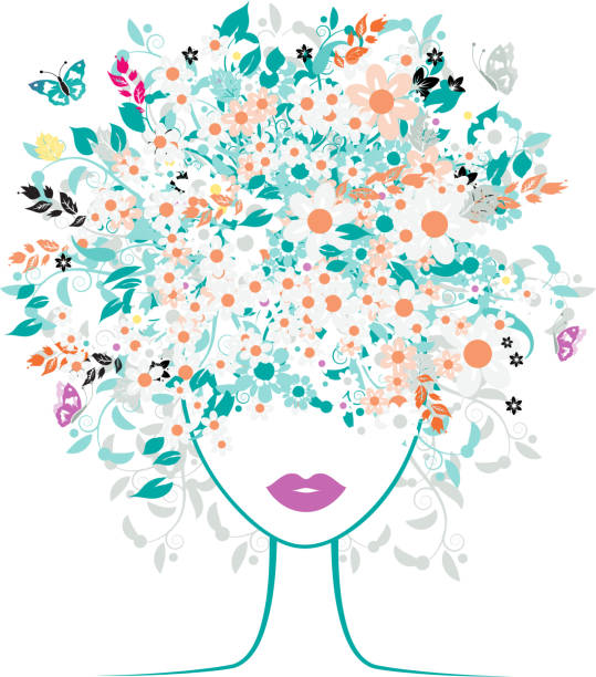 Woman with a head full of colorful floral silhouette vector art illustration