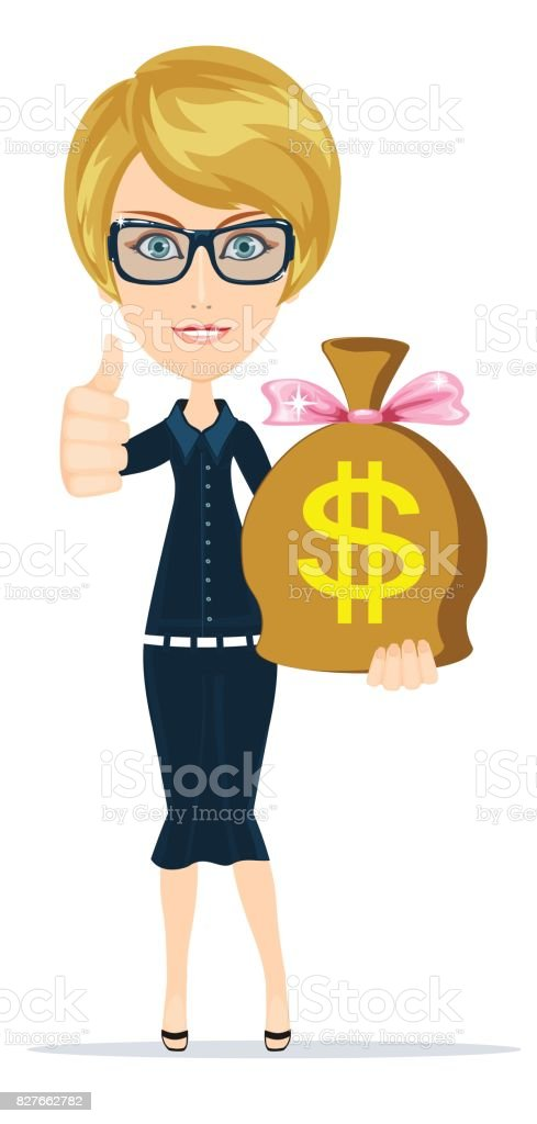 Woman with a huge bag full of money vector art illustration