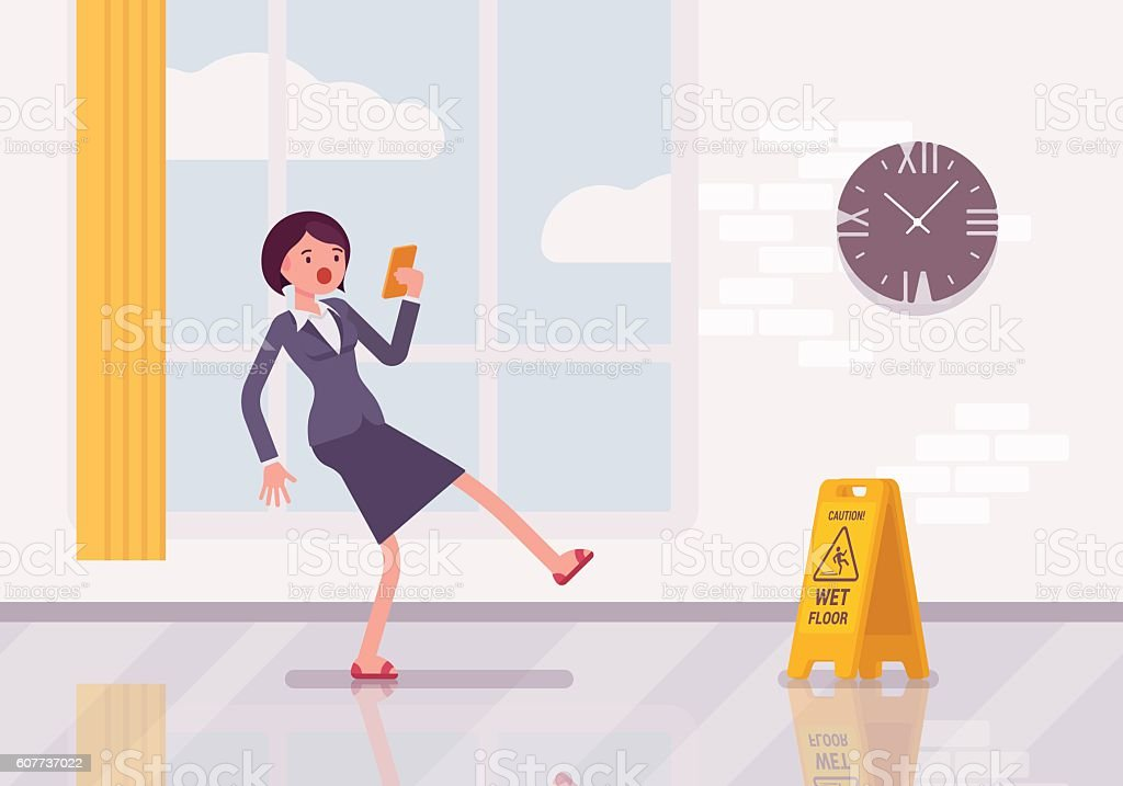 Woman with a smartphone slipps on the wet floor vector art illustration