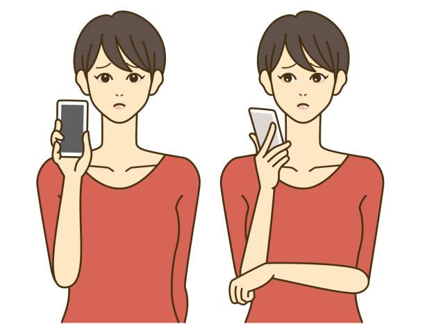 スマートフォンを持つ女性。笑顔。不安な表情。簡単なイラスト。 - オペレーター 日本人点のイラスト素材/クリップアート素材/マンガ素材/アイコン素材