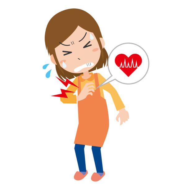 ilustrações de stock, clip art, desenhos animados e ícones de a woman with a sore chest - mão no peito