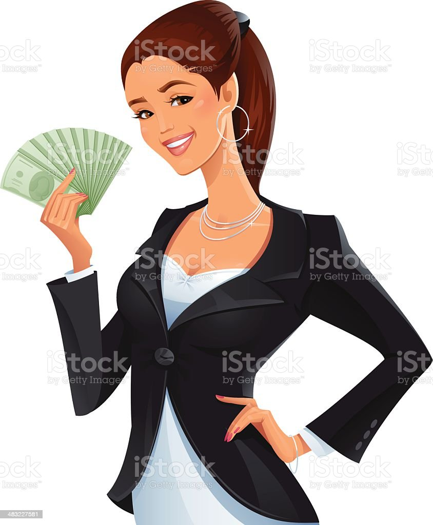 Woman with a Stack of Money vector art illustration