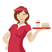 Woman with a tray in work clothes. Salesman in a fast food restaurant. Issuance of food. Isolated vector illustration