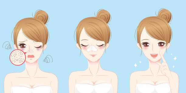woman with acne problem vector art illustration