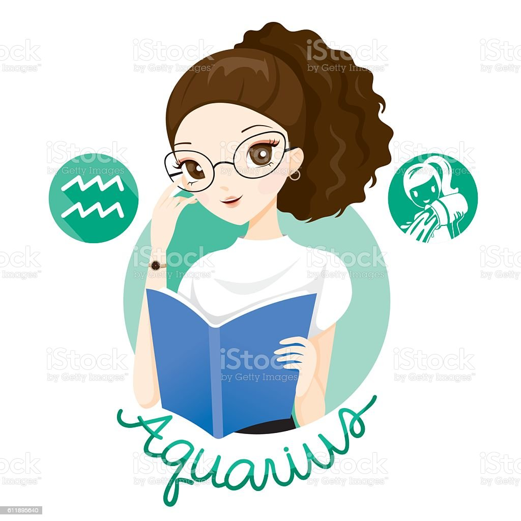 Woman With Aquarius Zodiac Sign vector art illustration