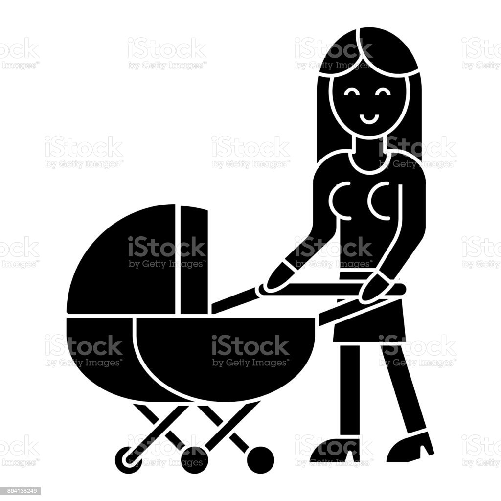 woman with baby stroller  icon, vector illustration, sign on isolated background royalty-free woman with baby stroller icon vector illustration sign on isolated background stock vector art & more images of adult