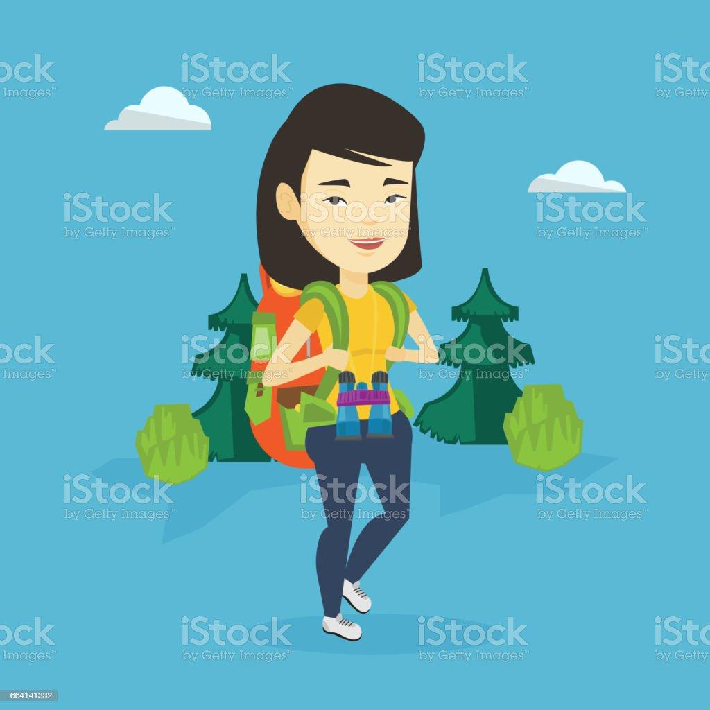 Woman with backpack hiking vector illustration woman with backpack hiking vector illustration - immagini vettoriali stock e altre immagini di avventura royalty-free