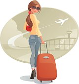 Illustration of a woman with luggage.